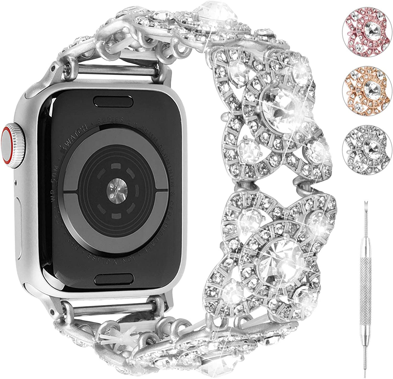 3 Colors for Apple Watch Band Women, Fullmosa Flora Fashion Rhinestone Beaded Bracelet Watch Band for iWatch Series SE/6/5/4/3/2/1,38mm 40mm 42mm 44mm
