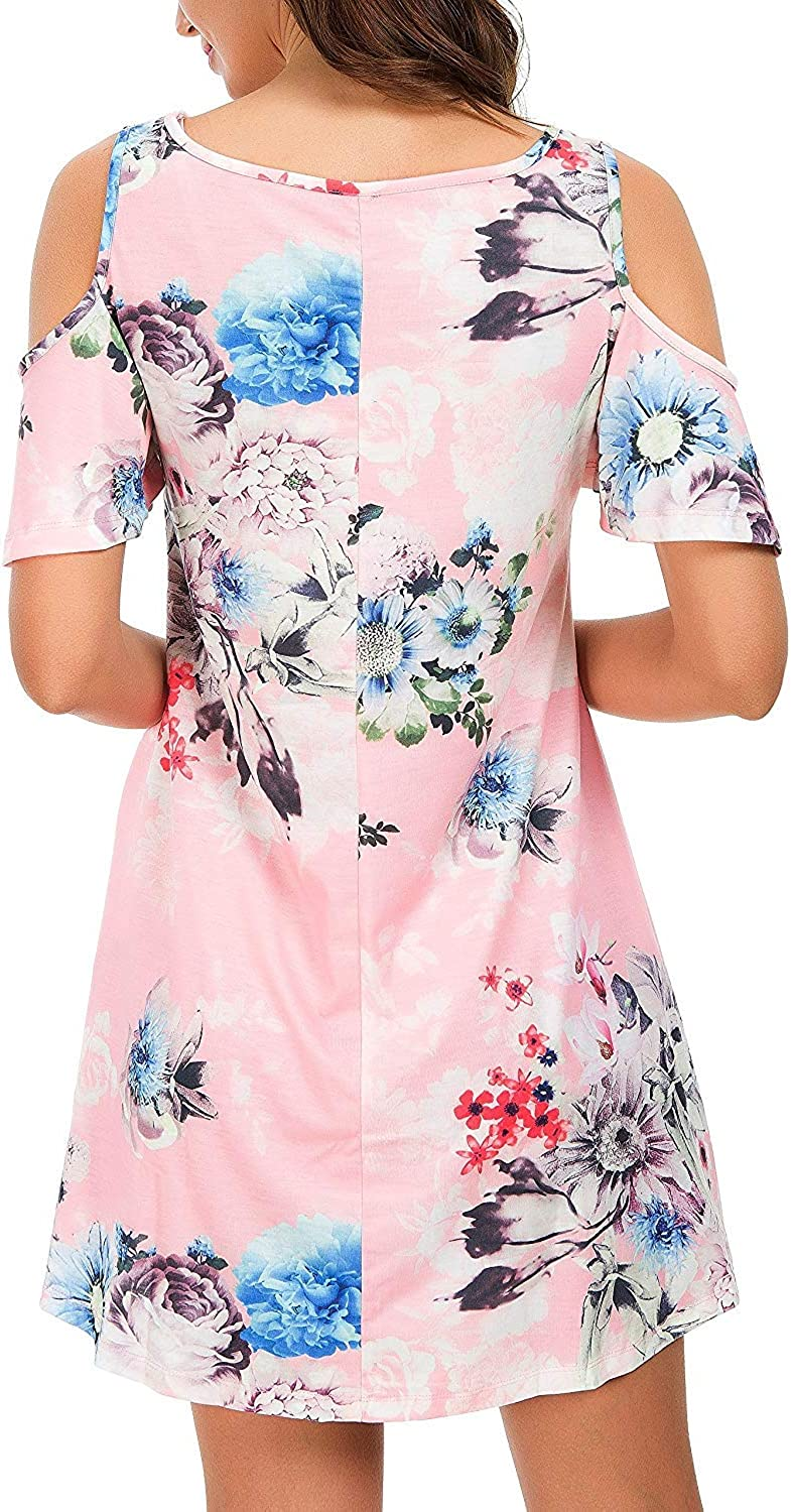PCEAIIH Womens Summer Cold Shoulder Tunic Top Swing Dresses Loose T-Shirt Casual Dress with Pockets