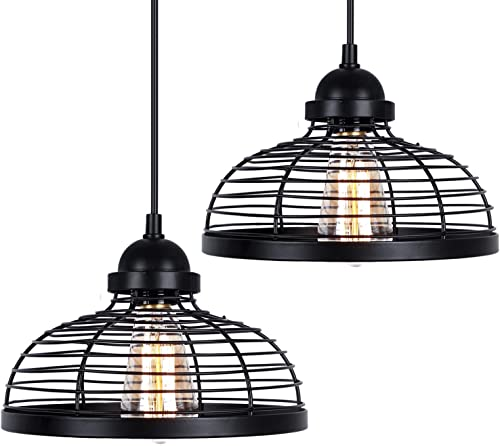 Industrial Pendant Light, 2 Pack Farmhouse Ceiling Lights, Adjustable Black Vintage Metal Hanging Lighting Fixture, Edison Kitchen Lamp for Dining Room Entryway Foyer Hallway Barn Bulb not Included