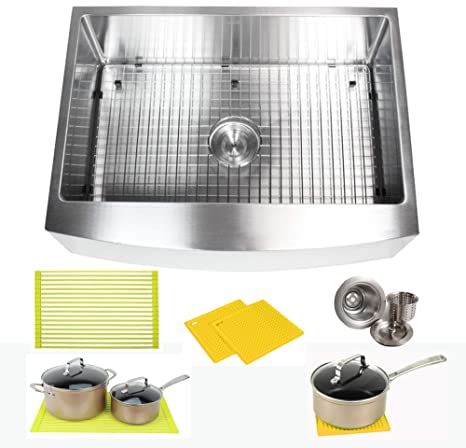 30 Inch Farmhouse Apron Front Stainless Steel Kitchen Sink Package 16 Gauge  Curved Front Single Bowl Basin Complete Sink Pack Bonus Kitchen ...