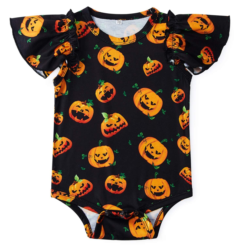 Goodstoworld Ruffle Baby Girl Romper Funny lnfant Halloween Toddler Child Jumpsuit