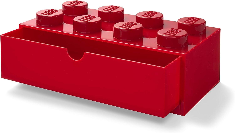LEGO 40211730 Desk Drawer 8 knobs Stackable Storage Box, Red
