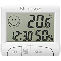 medisana HG 100, digitale hygrometer voor binnengebruik, thermometer met vochtigheid, kamertemperatuur, tijd, weergave…