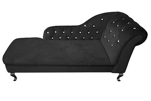 Contemporary Chesterfield Chaise Lounge, Black Velvet Diamante ...