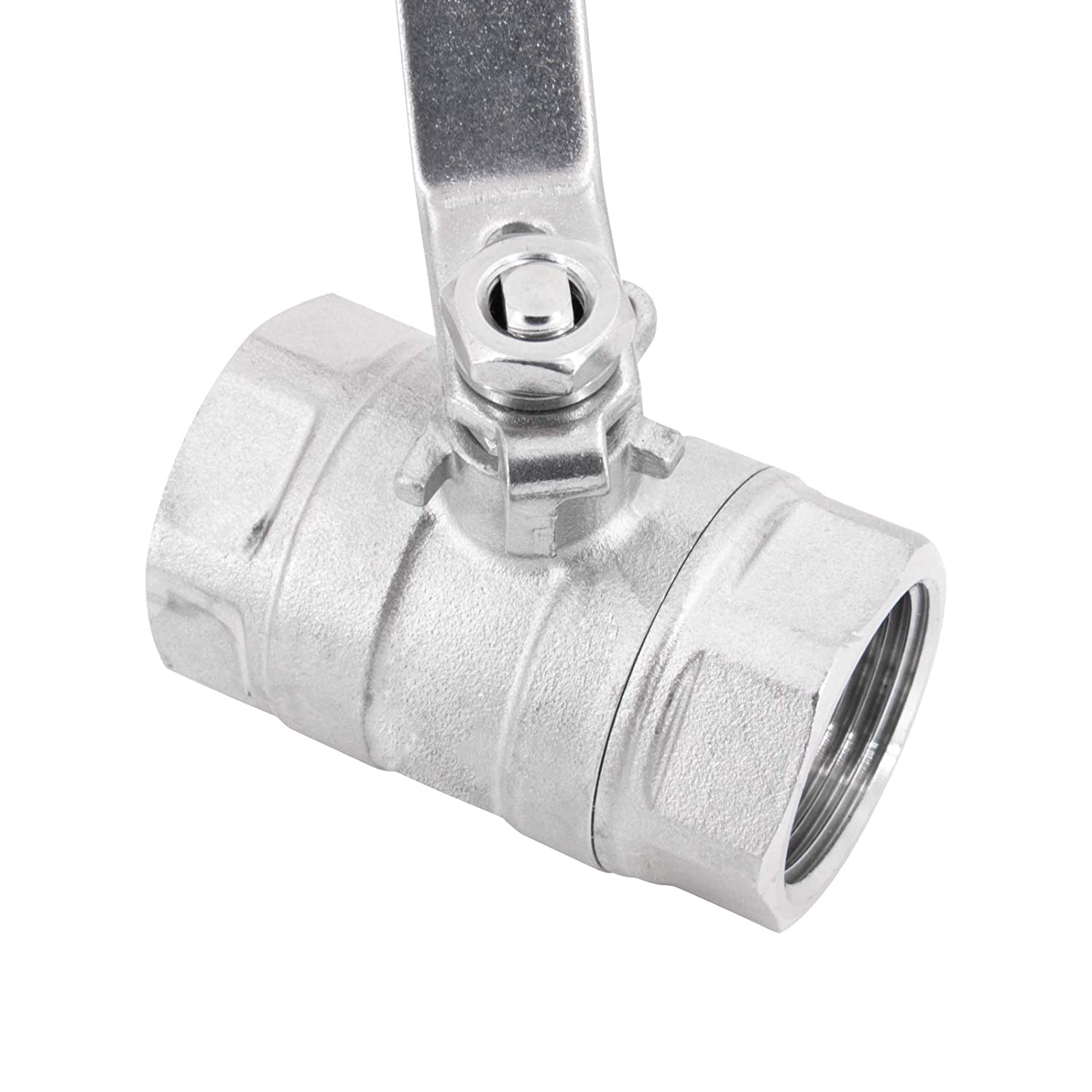 1//2 stainless steel ball valve with internal thread according to ISO 228//1 ball made of stainless steel AISI316 ball seal made of PTFE with hand lever PN40