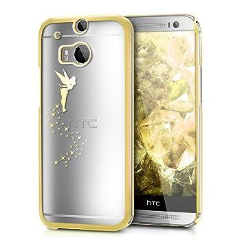 kwmobile Funda para HTC One M8 / Dual/Eye - Carcasa Trasera de TPU con diseño de Hada en Dorado/Transparente