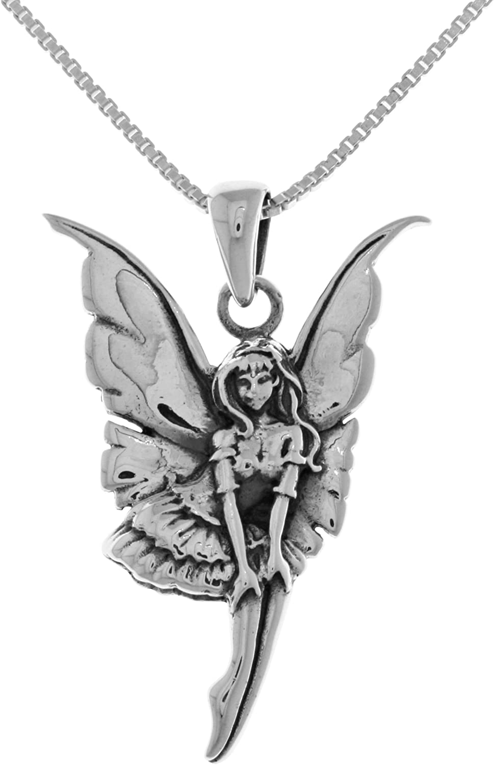 Jewelry Trends Sterling Silver Lunar Eclipse Moon Phase Fairy Pendant