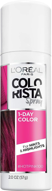 L'Oreal Paris Colorista 1-Day Temporary Hair Color Spray, Hot Pink, 2 Ounces