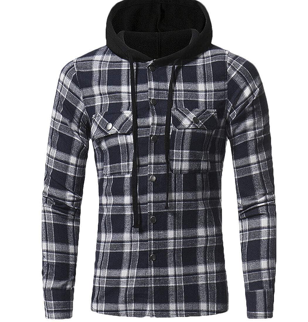 Generic Mens Tops Slim Fit Casual Grid Pattern Long Sleeve Hooded Shirt