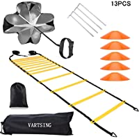 VARTSING Invincible Fitness Agility Ladder Training Equipment Set,Includes1 Resistance Parachute,6m 12 Sections Agility Speed Ladder,5 Cones and 4 Hooks Improves Coordination, Speed and Power