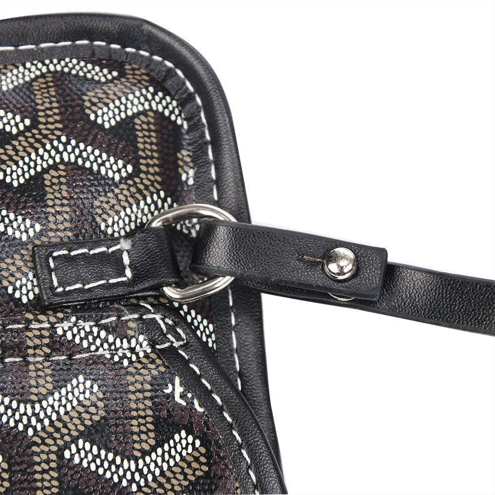 poliuretano, con llavero, tama/ño grande, color negro y marr/ón Bolso de mano para la compra Stylesty Fashion