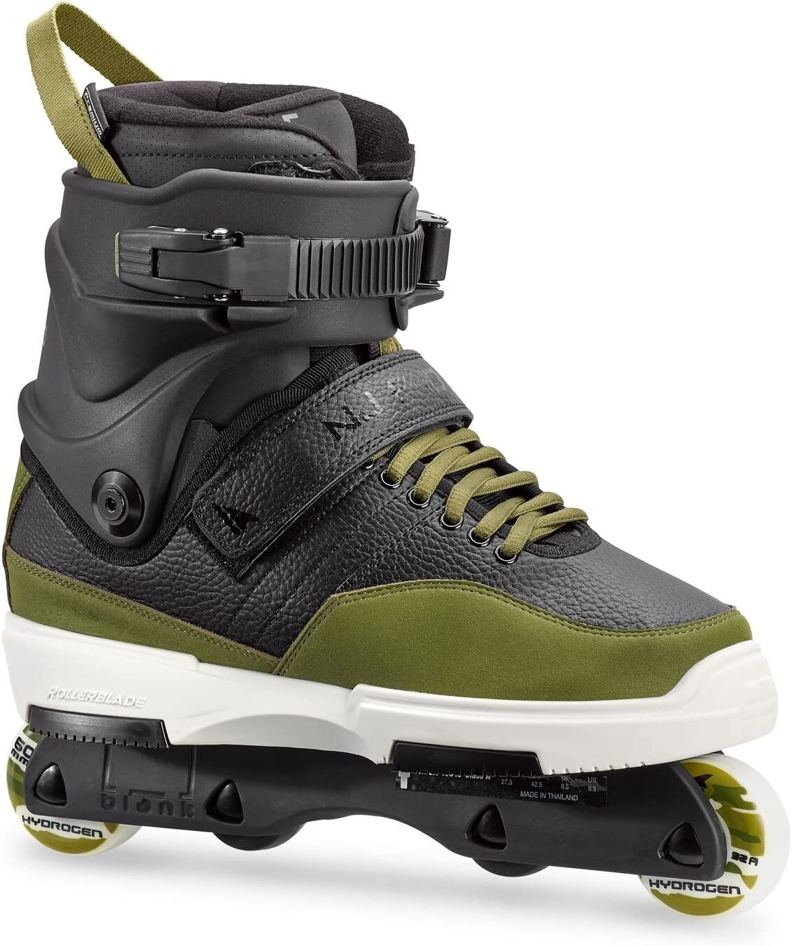 Rollerblade NJ Pro Unisex Adult Street Inline Skate, Black and Army Green, Premium Inline Skates