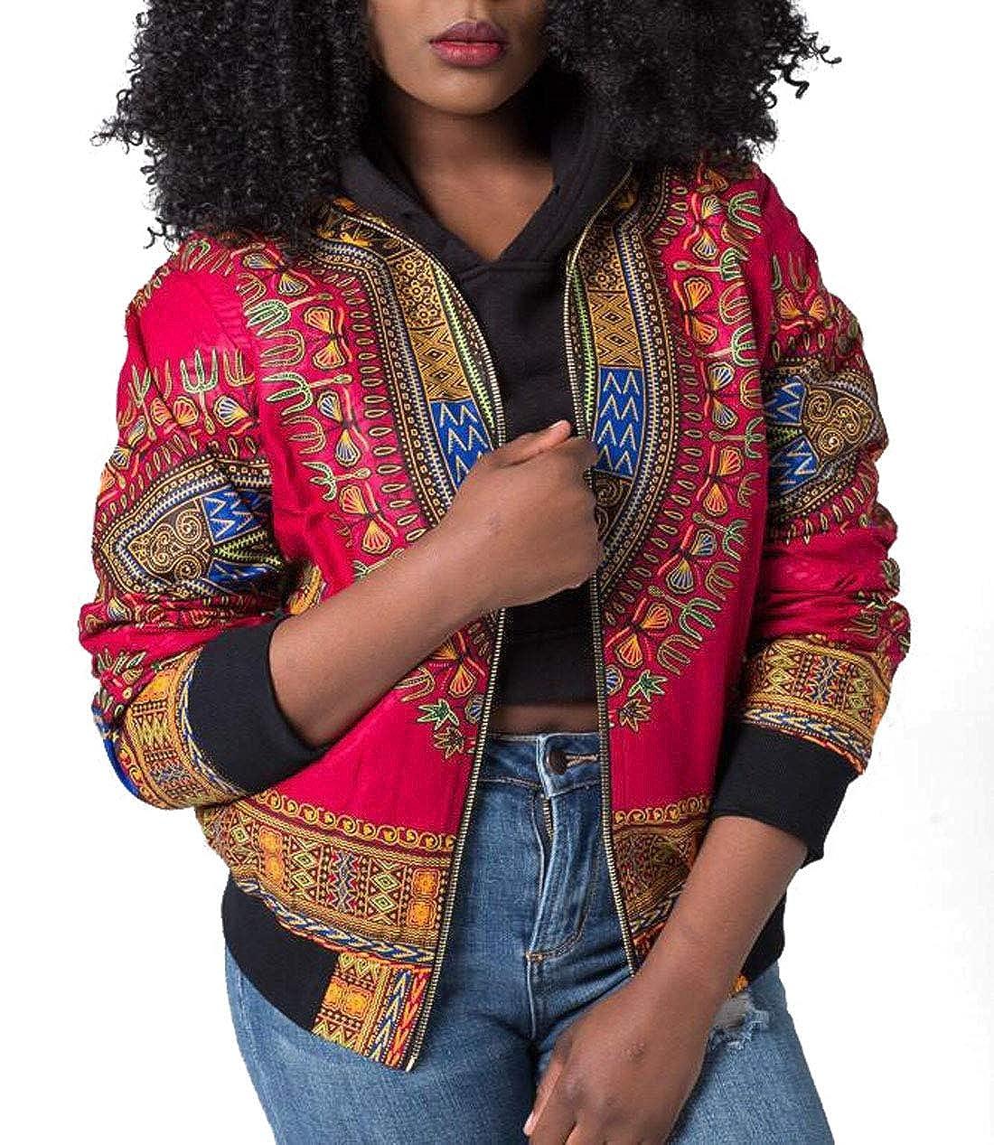 JackenLOVE Primavera e Autunno Donna Bomber Giacche Vintage Africano Stampa Jacket Cime Outerwear Moda Manica Lunga Cappotti Tops Coat Giacca con Zip