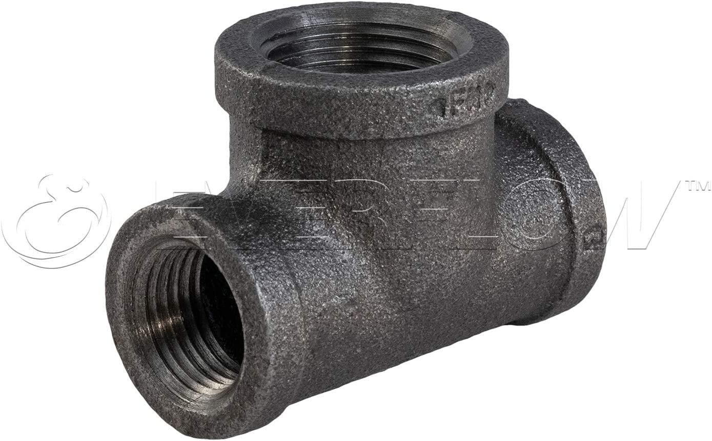 2 x 2 x 2-1//2 Everflow Supplies BMBT2000 Black Malleable Bull Head Tee Fitting with Female Threaded Connections