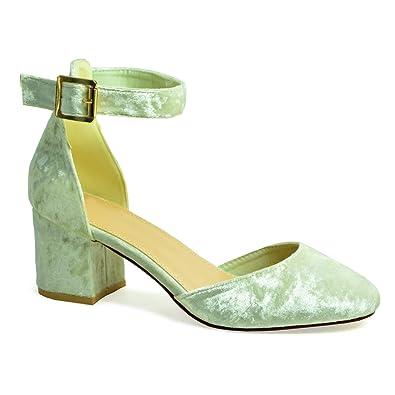 788286ad1956f CucuFashion Womens Pumps Ladies Sandals Ankle Strap Low Mid Block Heel  Velvet Court Shoes Size UK 3 4 5 6 7 8  Amazon.co.uk  Shoes   Bags