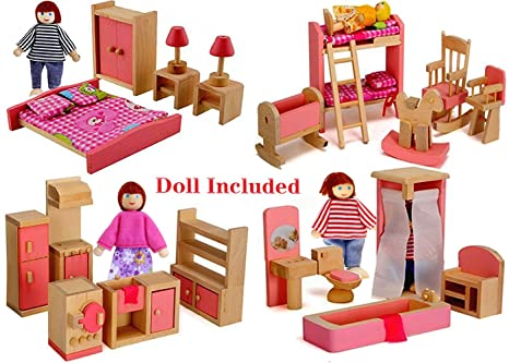 Amazoncom Wood Family Doll Dollhouse Furniture Set Pink Miniature