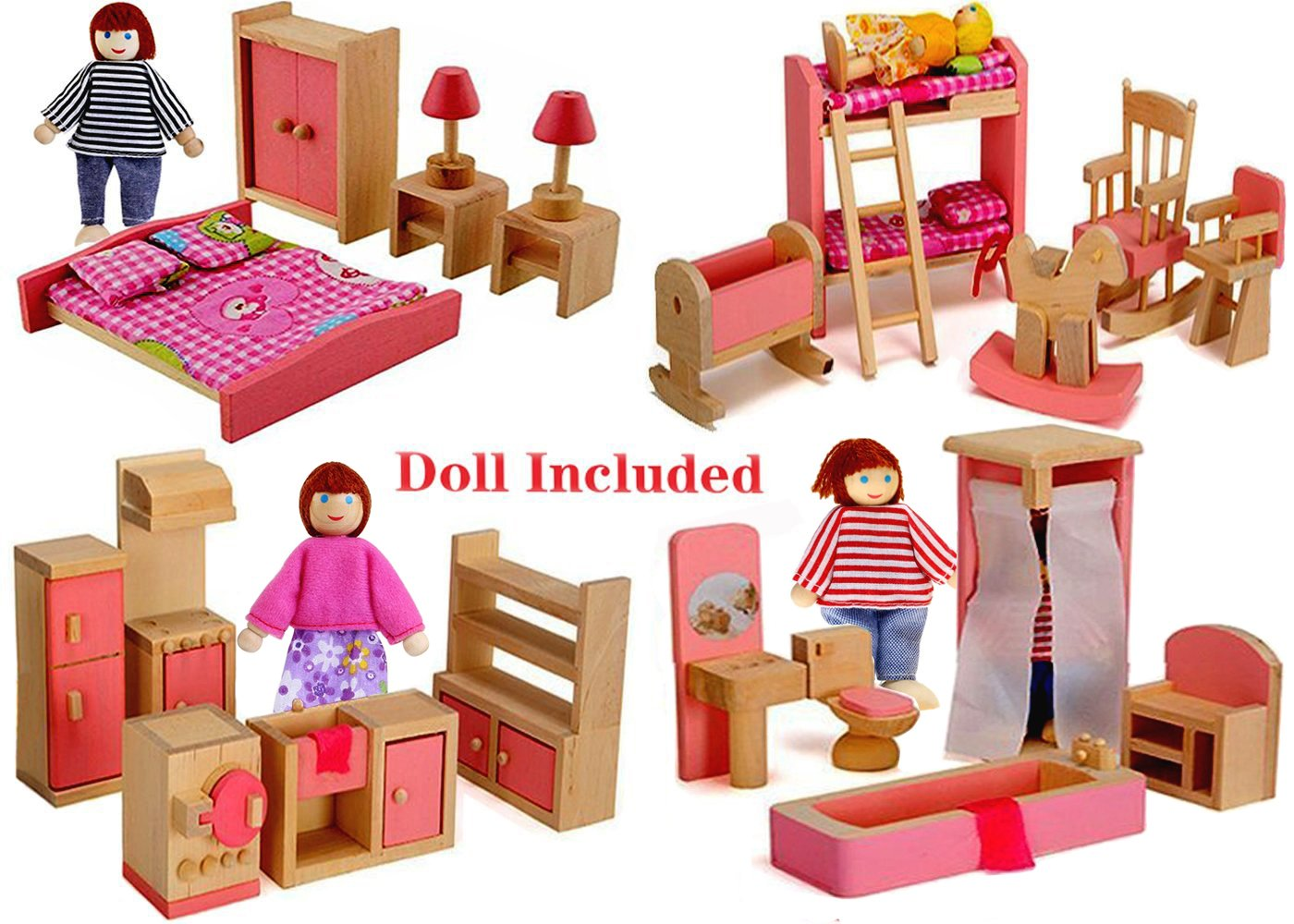 Wood Family Doll Dollhouse Furniture Set, Pink Miniature Bathroom/ Kid Room/ Bedroom/ Kitchen House Furniture Dollhouse Decoration accessories with 4 people Wooden Family Play Dolls (2-4 inches each)