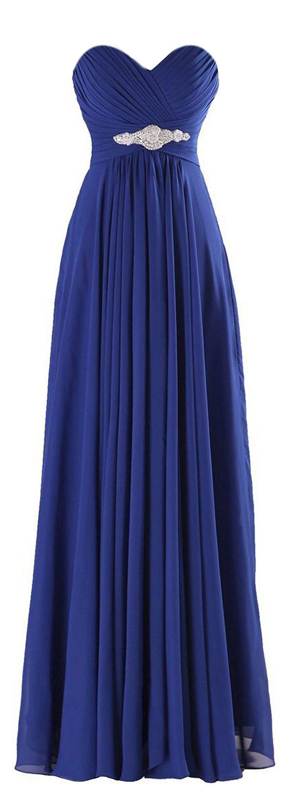 ThaliaDress Long Chiffon Sweetheart Evening Bridesmaid Dresses Prom Gowns T002LF Royal Blue US8