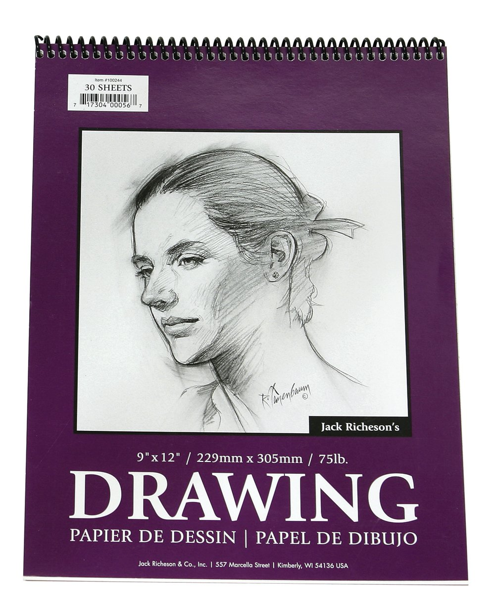 Jack Richeson 18-Inch-by-24-Inch Drawing Paper Pad, 30-Sheet Spiral by Jack Richeson
