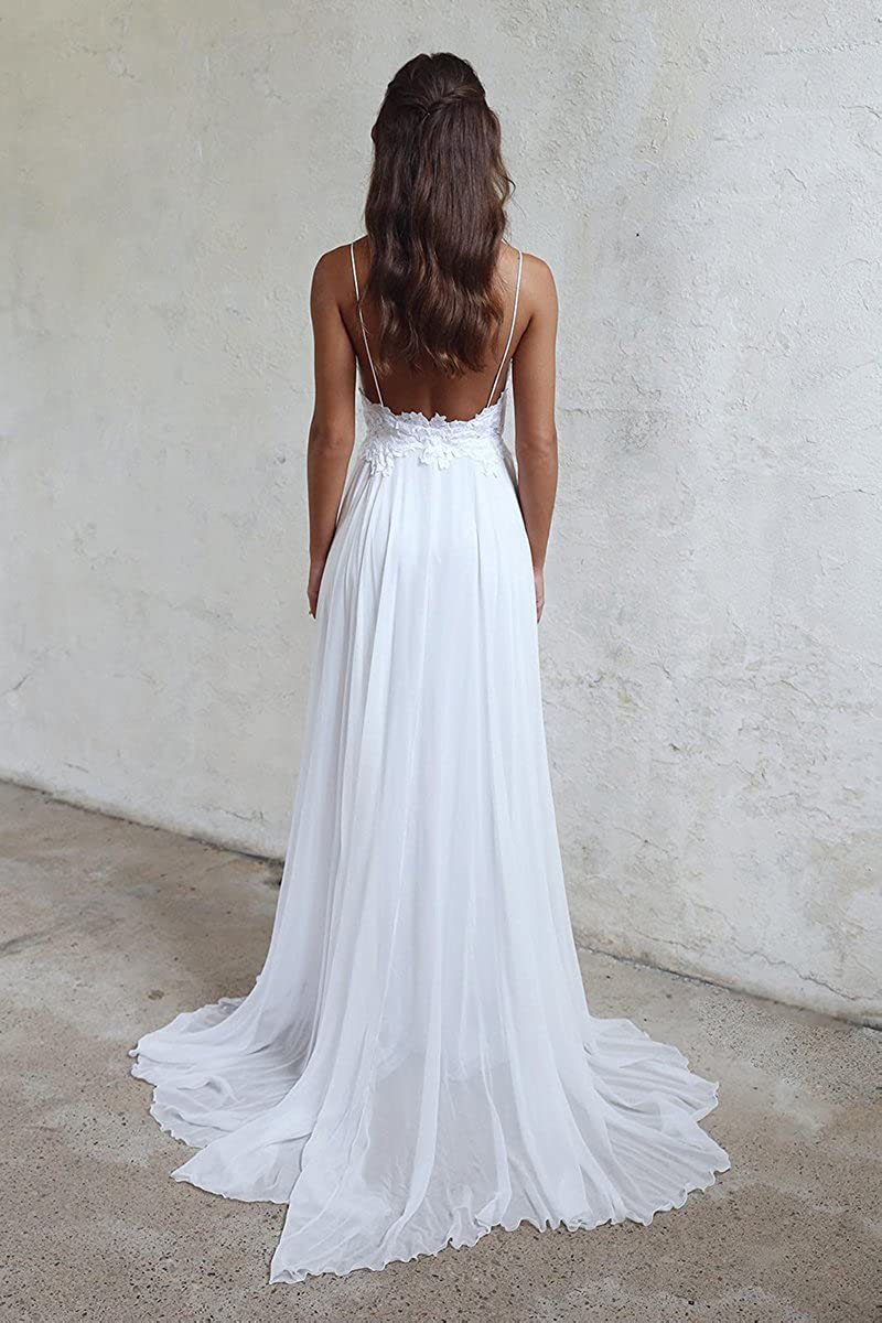 Vweil 2018 Sexy Chiffon Lace Vestidos de Novia Spaghetti Straps Backless Wedding Dresses VD7 at Amazon Womens Clothing store: