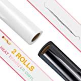 HTV Rollos de vinilo de transferencia de calor en blanco y negro – 12 pulgadas x 8 pies HTV vinilo para camisas, vinilo negro