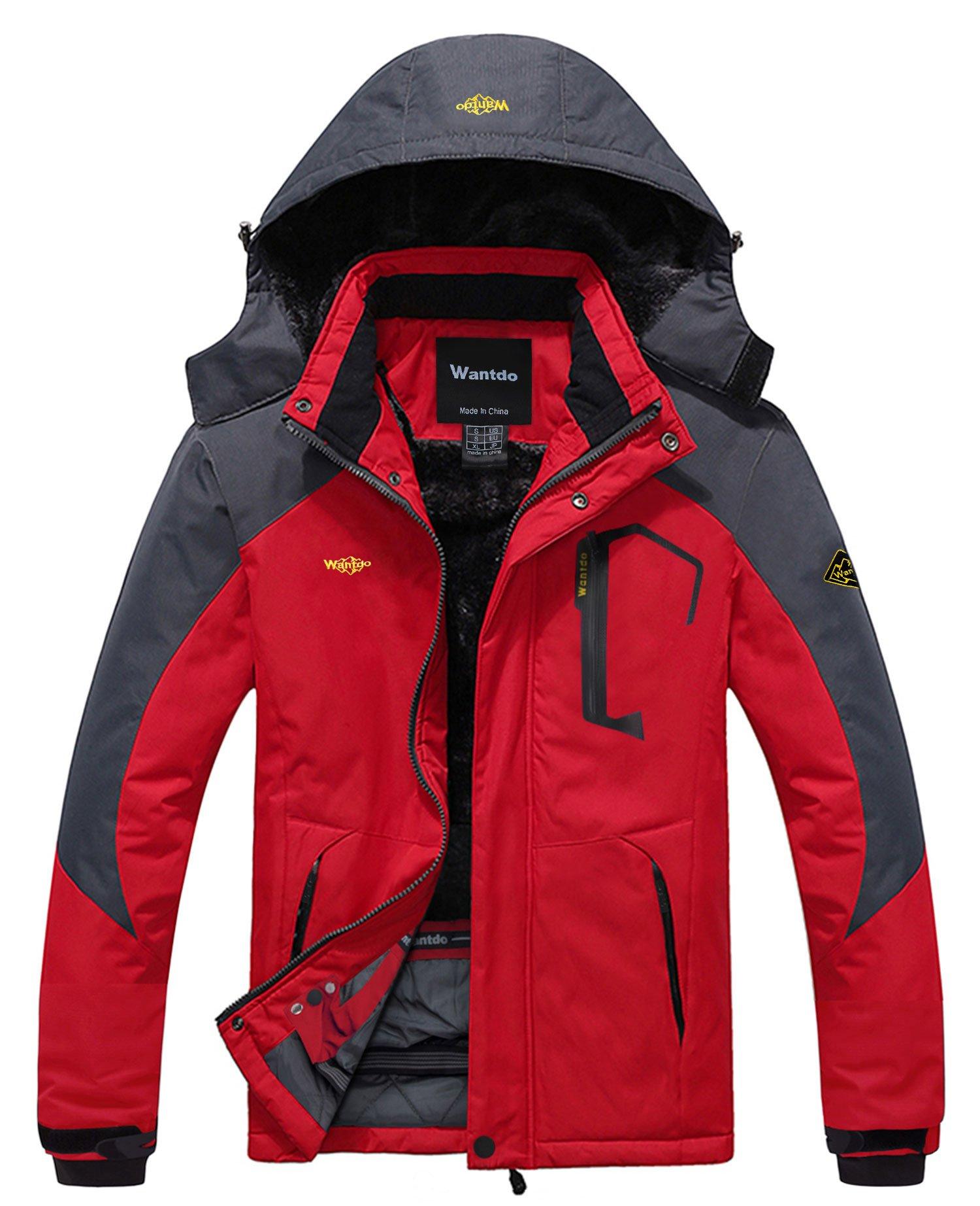 Wantdo Men's Waterproof Mountain Jacket Fleece Windproof Ski Jacket US M  Red M by Wantdo