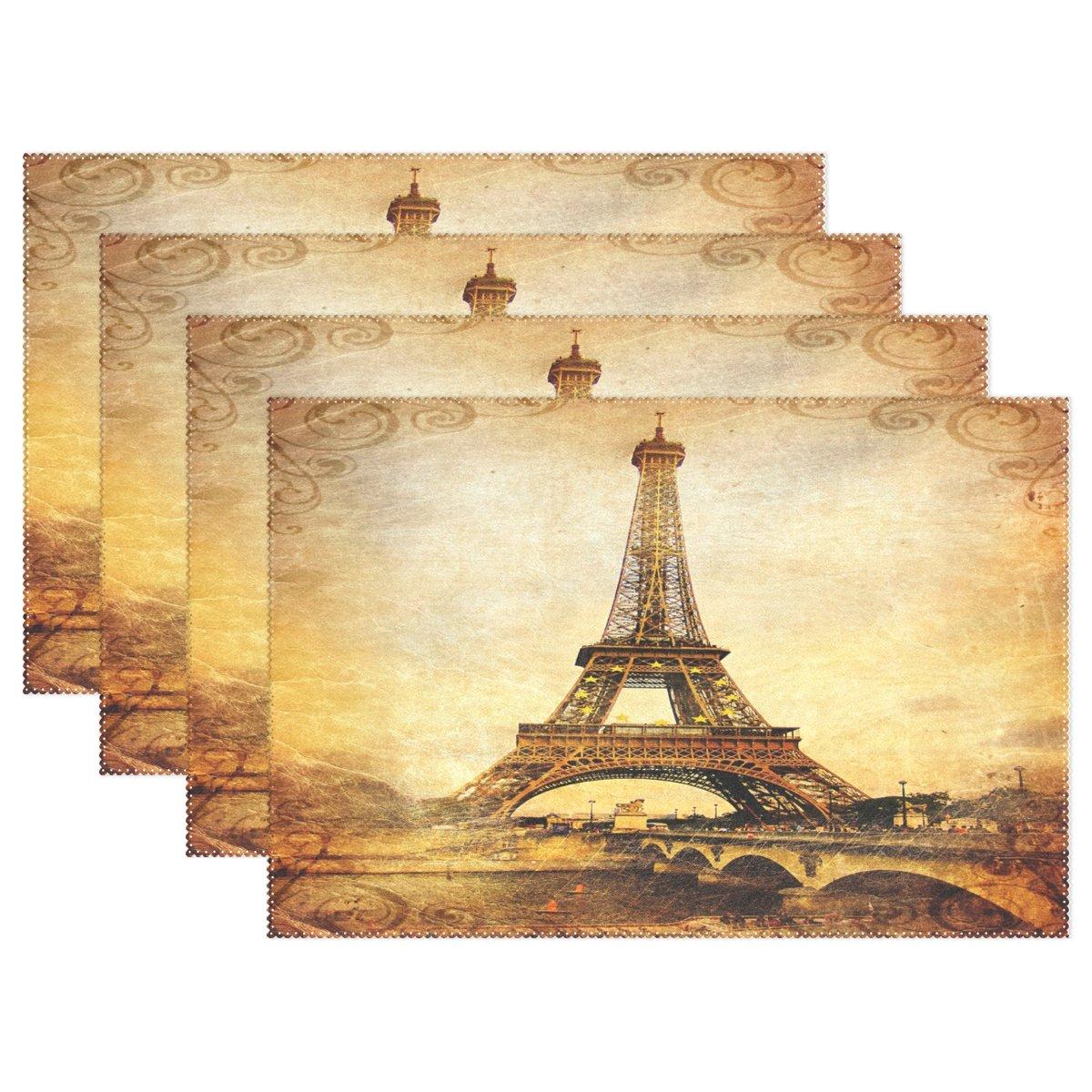 Wozoヴィンテージパリエッフェル塔プレースマットテーブルマット、フランスダマスク印刷12