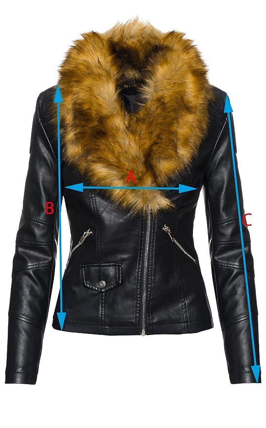 Elegante Damen Kunstleder Jacke Biker Jacke XXL Fellkragen übergangsjacke D- 221  Amazon.de  Bekleidung bcb2bd8b5b