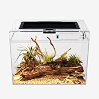"""Reptile Terrarium, 12"""" x 7""""x 9"""" Reptile Tank with Full View Visually Appealing,Crystal Explosion Proof Glass Mini…"""