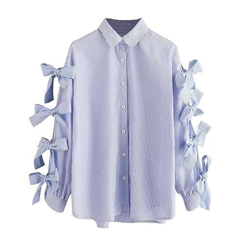 Vovotrade® Mujer Otoño Primavera Raya Nudo de arco Camiseta Manga larga Casual Camisa Blusa