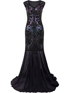 494b255058d Vijiv 1920s Long Prom Dresses V Neck Beaded Sequin Gatsby Maxi Evening Dress