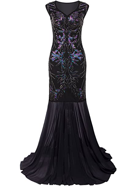 ee4ae5ca8f Vijiv 1920s Long Prom Dresses V Neck Beaded Sequin Gatsby Maxi Evening Dress