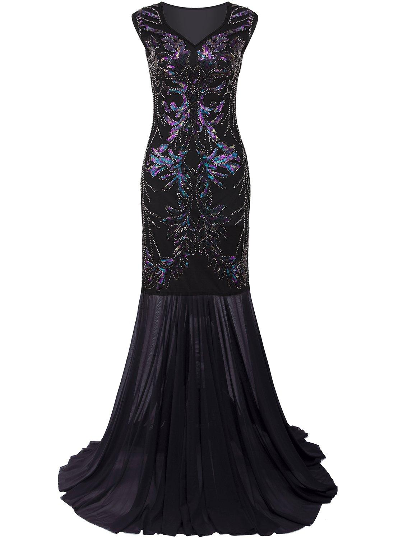 Vijiv 1920s Long Prom Dresses V Neck Beaded Sequin Gatsby Maxi Evening Dress,X-Large,Black