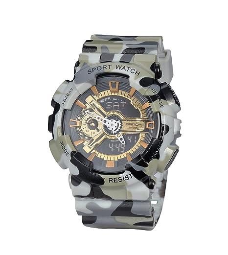 Casual camuflaje gris LED de los relojes digitales de Alarma de los hombres del deporte del reloj militar a prueba de golpes reloj luminoso: Amazon.es: ...