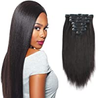 Sassina Italian Corse Yaki Straight Clip on Human Hair Extensions Real Remy Hair...