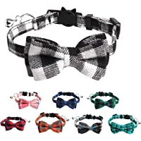 Cat Collar Breakaway with Bow Tie and Bell, Plaid Kitten Collar, Safety Buckle Kitty Collar, Bow Tie Removable Pet…