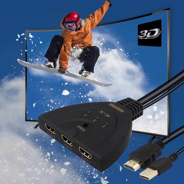 HDMI Umschalter NIERBO 3 in 1 Out HDMI Switcher 4K@30Hz 1080P 3D Verteiler 3x1 Switch Umschalter 3 Port Schalter Adapter für HDTV Blu-Ray DVD TV Cable Box PS3 / PS4