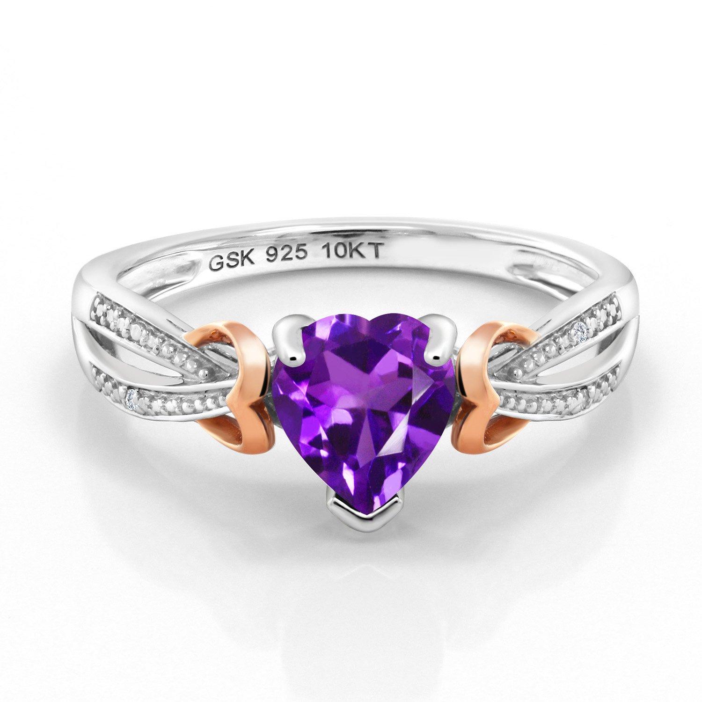 Gem Stone King 925 Silver 10K Rose Gold Diamond Ring 0.66 Ct Heart Shape Purple Amethyst