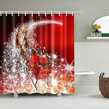 Amazon Lukalook Santa Claus Riding Sleigh Reindeer Xmas Shower