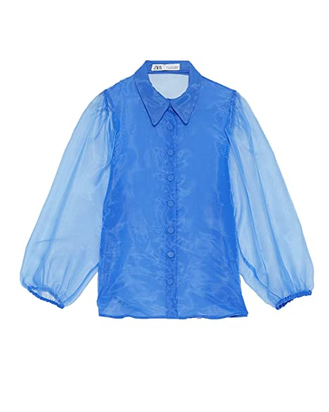 Amazon.com: Zara Women Organza Puff Sleeve Blouse 3073/696 ...