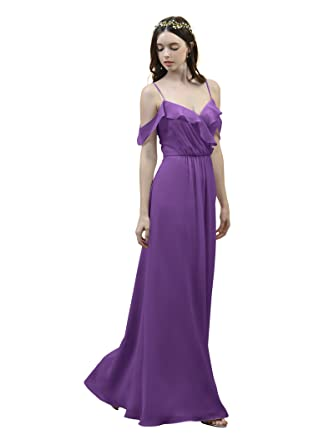Alicepub Off Shoulder Bridesmaid Dress Spaghetti Straps Evening Party Prom Gown, Purple, US2