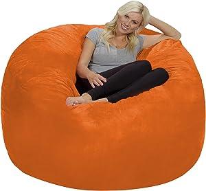 Chill Sack Bean Bag Chair: Giant 6' Memory Foam Furniture Bean Bag - Big Sofa with Soft Micro Fiber Cover, Orange