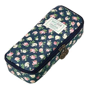 BTSKY Estuche de Organizador para Guardar Escribanía con Imagen Floral Retro Caja de Maquillaje con Cremallera Impermeable Bolsa de Almacenamiento ...