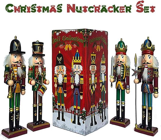 Set 3pcs3PCS//Set Handmade Wooden Nutcracker King Puppet Soldier Nutcracker Wooden Soldier Decoration Shengruhua 12CM Christmas Nutcracker Decoration Set
