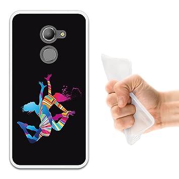 WoowCase Funda Vodafone Smart N8, [Vodafone Smart N8 ] Funda Silicona Gel Flexible Chicas Bailando con Manchas de Color Fondo Negro, Carcasa Case TPU ...