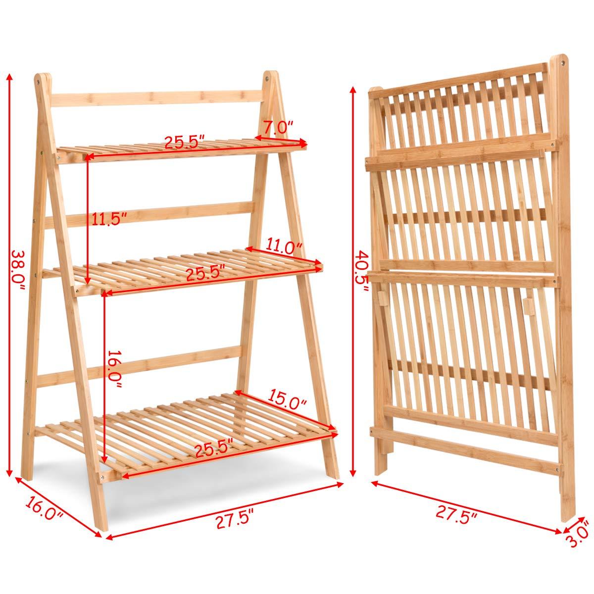 Amazon.com: Costway - Estantería de bambú plegable ...
