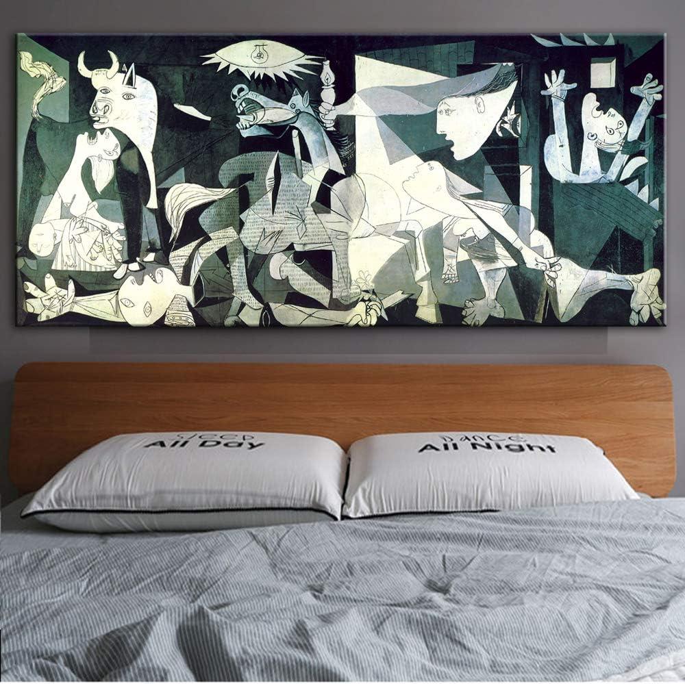 zqyjhkou Sin Marco Guernica Famosas Pinturas de Lienzo Reproducciones Imprimir en Lienzo Arte Impresiones Obra de Arte de Picasso Cuadros de Pared para Sala de Estar Pared 50x100cm