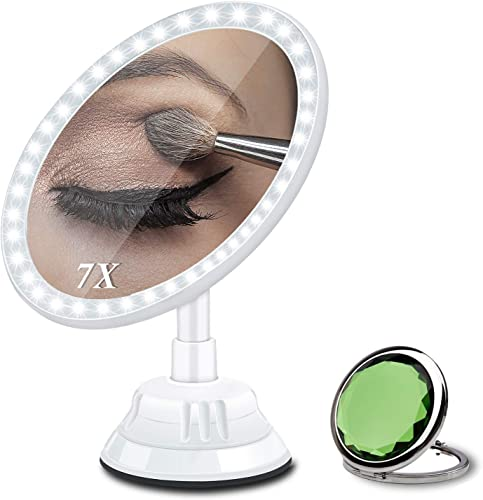 Magnifying Makeup Vanity Mirror with Light, 7X Magnification 2500mAh Rechargeable Lighted Mirror with 30 LEDs 3 Brightness 360 Rotation Suction Mount to Bathroom Cosmetic Mirror Tile Wall
