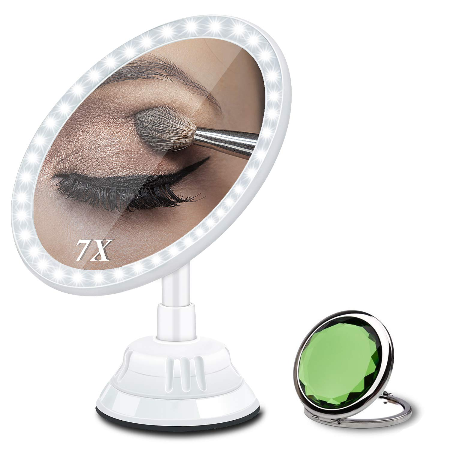Magnifying Makeup Vanity Mirror with Light, 7X Magnification 2500mAh Rechargeable Lighted Mirror with 30 LEDs 3 Brightness 360° Rotation Suction Mount to Bathroom Cosmetic Mirror/Tile Wall