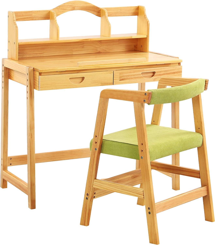 MallBest Kids Study Desk and Chair Set,100% Soild Wood,Height Adjustable Multifunctional Children's Study Desk Chair Set with Drawer for Kids(Natural)
